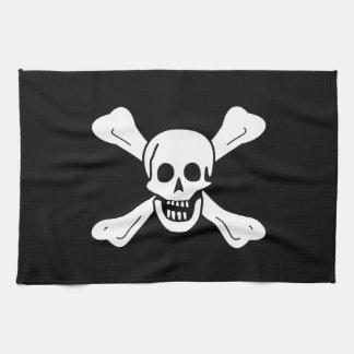 Cráneo y bandera pirata toallas de cocina