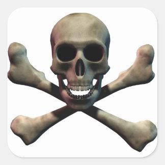 Cráneo y bandera pirata pegatina cuadrada