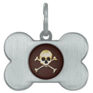 Cráneo y bandera pirata placa de mascota