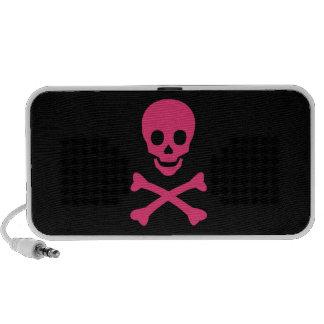 Cráneo y bandera pirata portátil altavoz