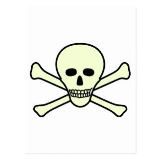 Cráneo y bandera pirata postales