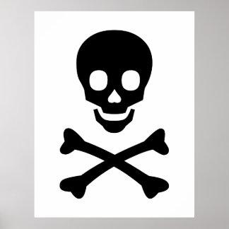 Cráneo y bandera pirata póster