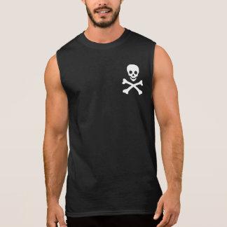 Cráneo y bandera pirata remera sin mangas