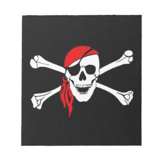 Cráneo y bandera pirata Rogelio alegre Blocs De Notas