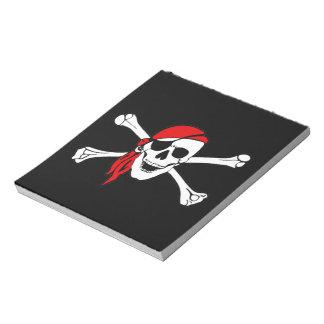 Cráneo y bandera pirata Rogelio alegre de bandera  Bloc