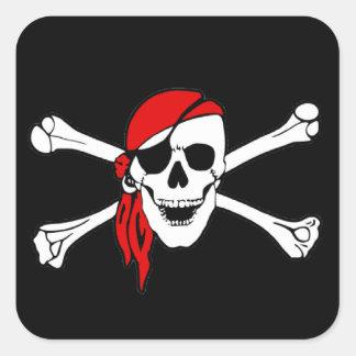 Cráneo y bandera pirata Rogelio alegre de bandera Pegatina Cuadrada