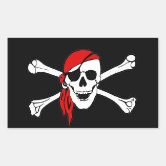 Cráneo y bandera pirata Rogelio alegre de bandera Pegatina Rectangular