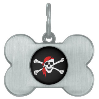 Cráneo y bandera pirata Rogelio alegre de bandera  Placa De Nombre De Mascota