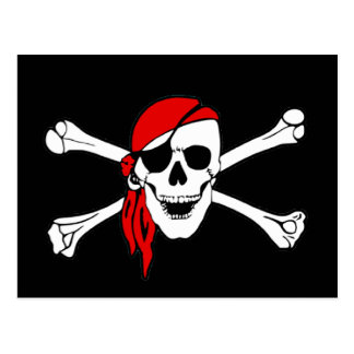 Cráneo y bandera pirata Rogelio alegre de bandera Postal