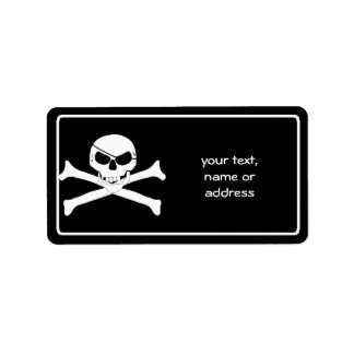 Cráneo y bandera pirata - Rogelio alegre Etiqueta De Dirección