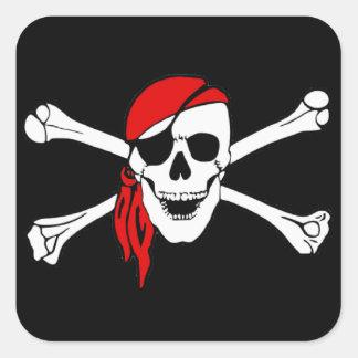 Cráneo y bandera pirata Rogelio alegre Calcomania Cuadrada Personalizada