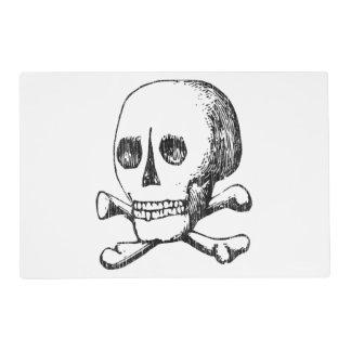 Cráneo y bandera pirata salvamanteles