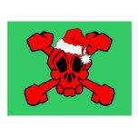 cráneo y bandera pirata santa tarjeta postal