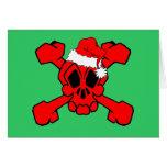 cráneo y bandera pirata santa tarjetón