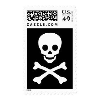 Cráneo y bandera pirata sello
