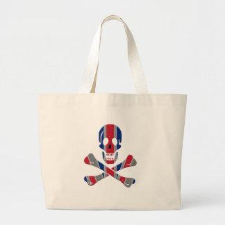 Cráneo y bandera pirata Union Jack Bolsa Tela Grande