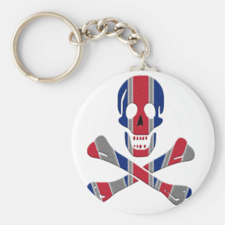 Cráneo y bandera pirata Union Jack Llavero Redondo Tipo Pin