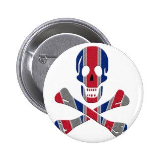 Cráneo y bandera pirata Union Jack Pin Redondo De 2 Pulgadas