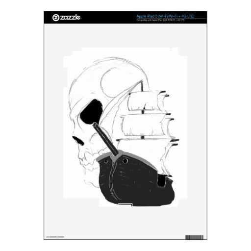 Cráneo y barco pirata iPad 3 pegatinas skins