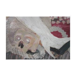 Cráneo y bota blanca de Wendy C Allen Lona Envuelta Para Galerías