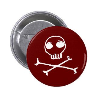 Cráneo y botón de la bandera pirata pin redondo de 2 pulgadas