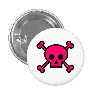 Cráneo y botón rosados lindos de la bandera pirata pin redondo de 1 pulgada