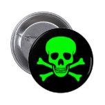 Cráneo y botón verdes y negros de la bandera pirat pins