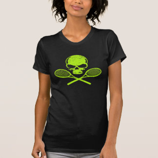 Cráneo y camiseta cruzada de las señoras del tenis