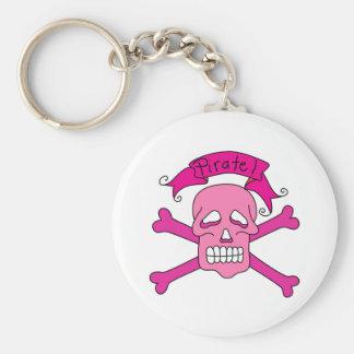 Cráneo y camisetas y regalos rosados de la bandera llavero redondo tipo pin