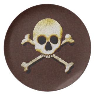 Cráneo y casa encantada asustadiza de Halloween de Plato De Cena