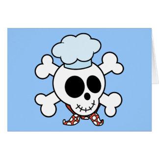 Cráneo y cocinero divertidos de la bandera pirata felicitaciones