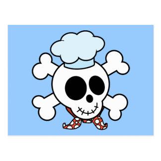 Cráneo y cocinero divertidos de la bandera pirata tarjetas postales