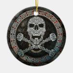 Cráneo y colgante de la bandera pirata/ornamento c ornamentos de reyes