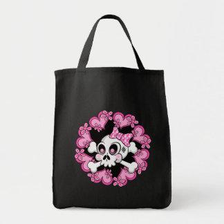 Cráneo y corazones lindos bolsas