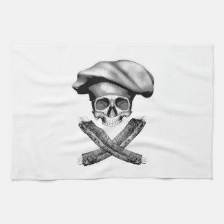 Cráneo y costillas del cocinero toallas de mano