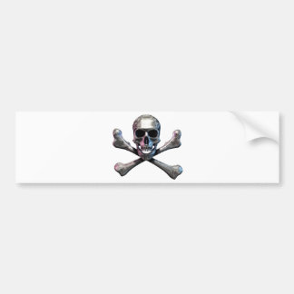 Cráneo y cromo de la bandera pirata pegatina para auto