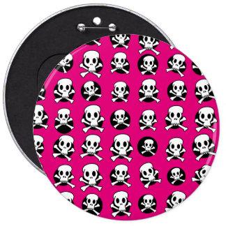 Cráneo y CrossBone Pin Redondo De 6 Pulgadas