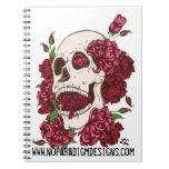 Cráneo y cuaderno de los rosas