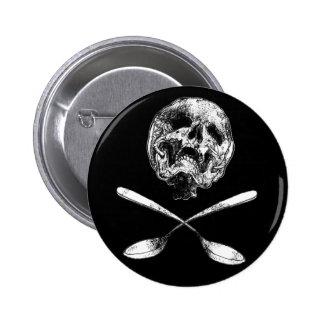 Cráneo y cucharas pin redondo 5 cm