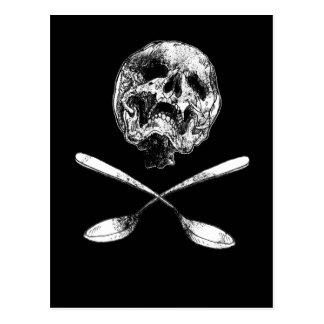 Cráneo y cucharas postal
