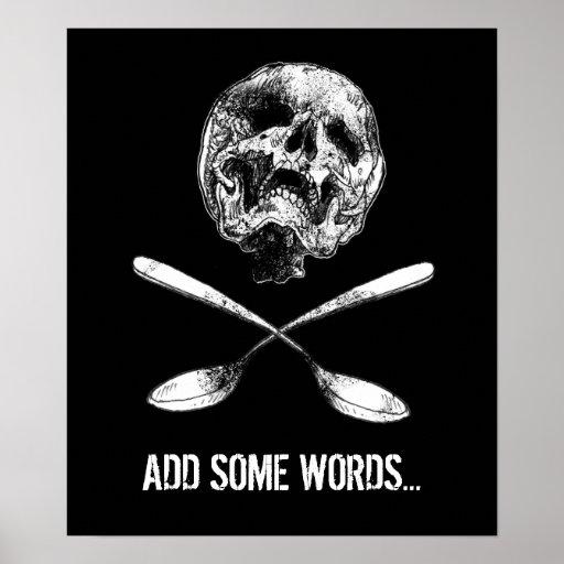 Cráneo y cucharas póster