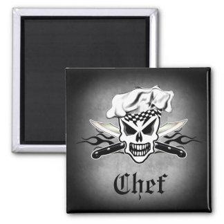 Cráneo y cuchillos llameantes 2 del cocinero del imán cuadrado