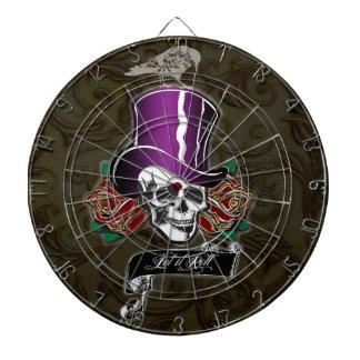 Cráneo y cuervo del sombrero de copa tablero de dardos
