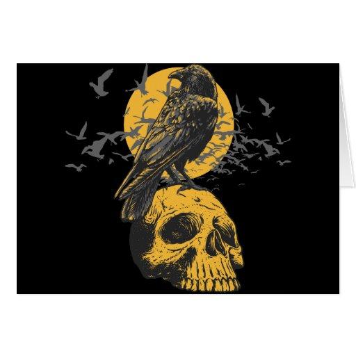 Cráneo y cuervo tarjeta de felicitación