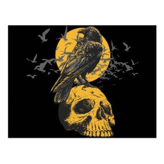 Cráneo y cuervo postales