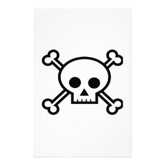 Cráneo y dibujo animado de la bandera pirata papelería de diseño