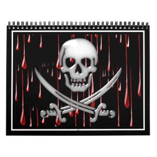 Cráneo y espada vidriosos del pirata en goteos calendario