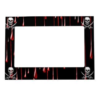 Cráneo y espada vidriosos del pirata en goteos marcos magnéticos de fotos
