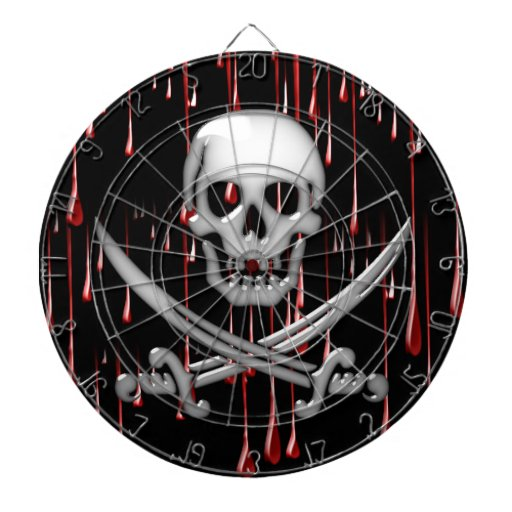 Cráneo y espada vidriosos del pirata en goteos san