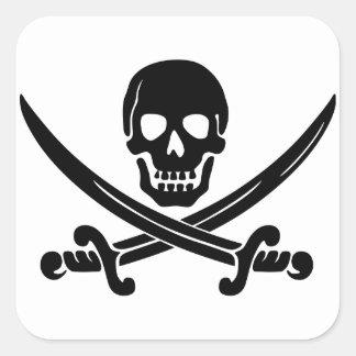 Cráneo y espadas de Jack del calicó Calcomanias Cuadradas
